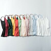 Women V Neck Silk Satin Camisole Plain Strappy Vest Sleeveless Blouse Tank Tops
