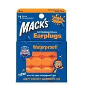 Macks 6 pair KIDS swimming ear plugs soft swimmers Orange childrens youth 22db