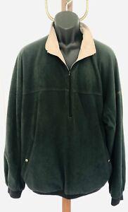 FootJoy Mens Size XL Green Fleece Beige Reversible Pullover 1/4 Zip Golf Jacket