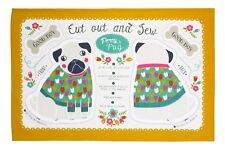 """Ulster Weavers, """"Percy Pug"""", Pure cotton tea towel. Printed in the UK."""