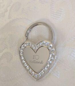 I Love Holland Keyring, heart shaped with diamantes