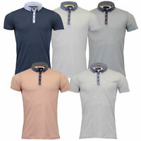 Mens Polo T Shirt by Brave Soul 'Chimera' Short Sleeved Chambray Top Summer