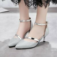 Ladies Kitten Mid Heel Pointy Toe Shoes Ankle Buckle Sequins Party Wedding Pumps