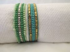 Set Of Two Hand Made Tonal Pull Museo Bracelets In Turquiose Tones By Pink House