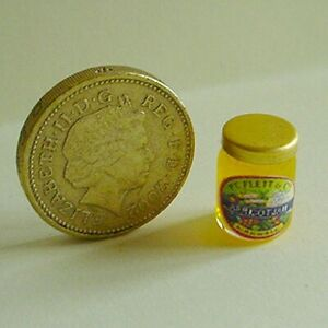 "1:24 Dollhouse Miniature ~ British Apricot Jam Jar    5/8""           #372"