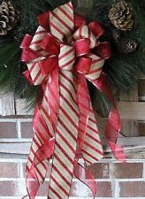 HANDMADE CHRISTMAS BOW ~ ONLY ~ BURGUNDY CANDY CANE WIRED RIBBON # 54