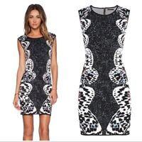 NWT BCBG Audrie Butterfly womens sleeveless Dress Jacquard black white Party M