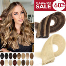 """8A 16""""-24"""" Wire In Remy 100% Indian Human Hair Extensions Headbands No Clip USPS"""