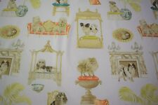 "Fancy Dog Color Print Cotton Linen Fabric 55"" Upholstery BTY Natural Fiber"