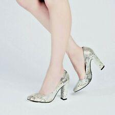 Womens Ladies Silver Heeled Court Evening Dress Shoe, UK Size 3 4 5 6 7 8