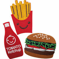 French Fries Burger Tomato Ketchup Food Embroidered Iron / Sew On Patches Badges