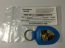 Porsche Miami Blue Leather Keyring  Key Ring Fob Genuine Metal Badge RRP £40.39
