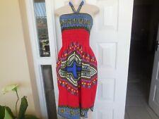 Sexy Dress African Print Off Shoulder  Handmade  Size 12 - 16 100% Cotton