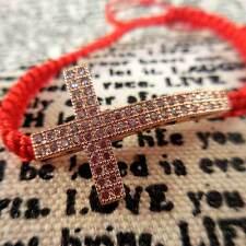 Rose Gold Crystal Cross Red-String Bracelet