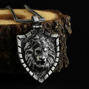 NEW 925 Sterling Silver Lion Head Mens Pendant Necklace With 925 Silver Chain