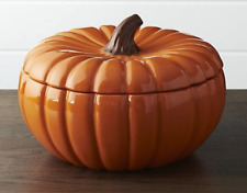 "LARGE GLAZED STONEWARE PUMPKIN SERVING BOWL WITH LID, NEW, TUREEN, 10"" DIA"