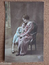 R&L Postcard: Glamour lady with Young Boy, Flowers, Carnations, DIX