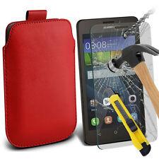 Rojo Cuero Artificial Lengüeta Funda Funda & Cristal para Huawei Y635