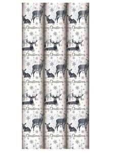 3M Roll Of White Snowy Scene Reindeer Foil Christmas Gift Wrapping Paper