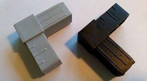 Steckverbinder Verbinder für Vierkantrohr - 90 Grad - 4 Stück grau oder schwarz