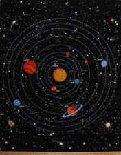 "34.5"" X 44"" Solar System Planets Glow in the Dark Cotton Fabric Panel D775.52"