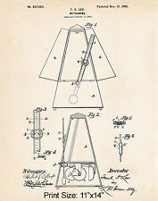"""Gift Ideas For Musicians 11""""x14"""" Metronome Patent Art Print Music Lovers Gifts"""