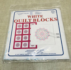 """NEW Stamped Embroidery White Quilt Blocks #86 -Pinwheel Set of 6 -18"""" x 18"""""""