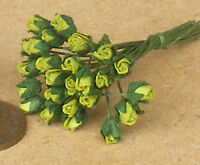 1:12 Scale Bunch Of 25 Green Paper Rose Buds Flowers Dolls House Miniature