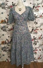 Corset Light Blue Roses Birds Floral Victorian Edwardian Vintage Dress Size 10