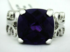 AMETHYST 6.87 Cts RING SILVER PLATED ** New With Tag ** Size 6.25