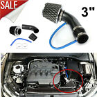 3 Carbon Fibre Car Cold Air Intake Filter Induction Pipe Power Flow Hose System