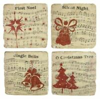 4 X CHRISTMAS CAROLS RED BLACK CREAM CERAMIC VINTAGE RUSTIC LOOK CORK COASTERS