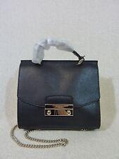 NWT FURLA Onyx Black Saffiano Leather Mini Top Handle Julia Cross body Bag $348