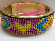Betsey Johnson Flights of Fancy Bangle Bracelet  Pink Glitter & Colorful Beads