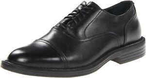 Deer Stags Detour Men's Berlin Cap Toe Shoes in Black Full Grain Leather