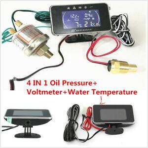 4In1 Multifunction Car LCD Digital Voltmeter Water Temp Oil Pressure Fuel Gauge