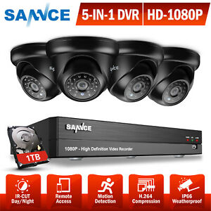 SANNCE Ture 1080P 5IN1 8CH DVR Dome CCTV Outdoor Camera Security System Email 1T