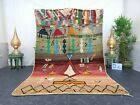 Moroccan Boujaad Handmade Rug 6'x9' Berber Patchwork Red Green Wool Rug