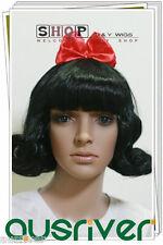 Fashion Snow White Black Women Lady Full Wig Costume Drama Play Halloween Cos