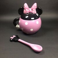Disney Minnie Mouse Ceramic Covered Mug With Matching Spoon Pink Collectible