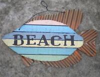 "BEACH WOOD & METAL SIGN Seaside Tropical Coastal Nautical Home Wall Decor 10""x7"""