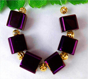 7mm 6Pcs Purple Titanium Crystal Cube Height Hole Pendant Bead BV41487
