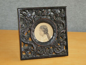 """Beautiful 19th Century Chinese Carved Hardwood Pierced Dragons Photo Frame 6x6"""""""