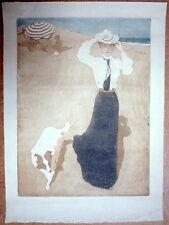 Raoul du Gardier. Aquatinte en couleurs A marée basse. Vers 1905