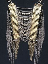 GUESS Fashion Gold and Silver Tone Necklace with Fringe and Rhine Stones