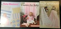 :Lot of 3 Crochet Knit Baby Afghans & Layette Pattern Books