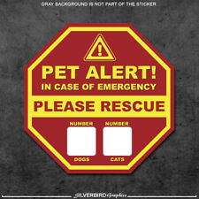 2x Pet Rescue - stickers fire 911 warning caution pets dogs cats rescue safety