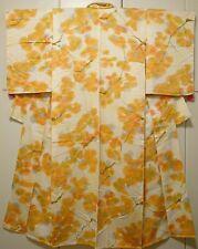 Woman Japanese Kimono Komon Hitoe Silk Flower Cream Orange Branche Leaves