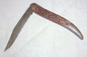 "VINTAGE REMINGTON UNION METALLIC CARTRIDGE TEXAS TOOTHPICK POCKET KNIFE 9"" OPEN"