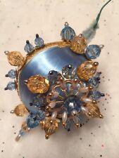 Nativity Sky Blue Victorian Gem Stone & Beads Handmade Christmas Tree Ornament ~